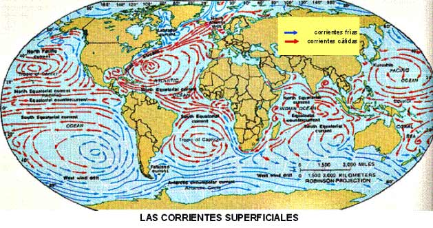 ¿Cuáles son las corrientes del océano Pacífico?
